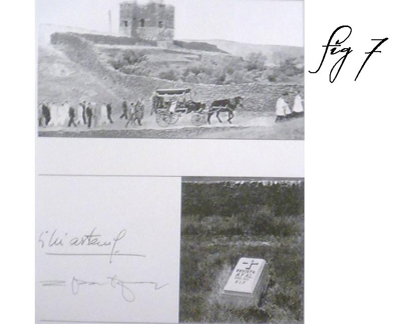 """Corteo funebre e lapide con inciso """"Afal 1956-1963 R.I.P""""."""