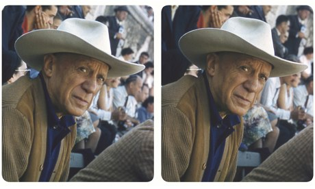 1) Pablo Picasso at the bull-ring in Arles wearing the white Stetson given to him by Gary Cooper © Elizabeth Mouzillat Jowett 2013 | DACS London, 2013