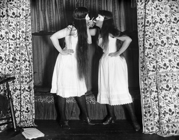 Alice Austen, Trude and I, Masked, Short Skirts, 1891