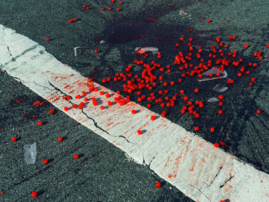 Christopher Anderson, USA. New York City, NY. 2014. Cherries spilled on crosswalk.