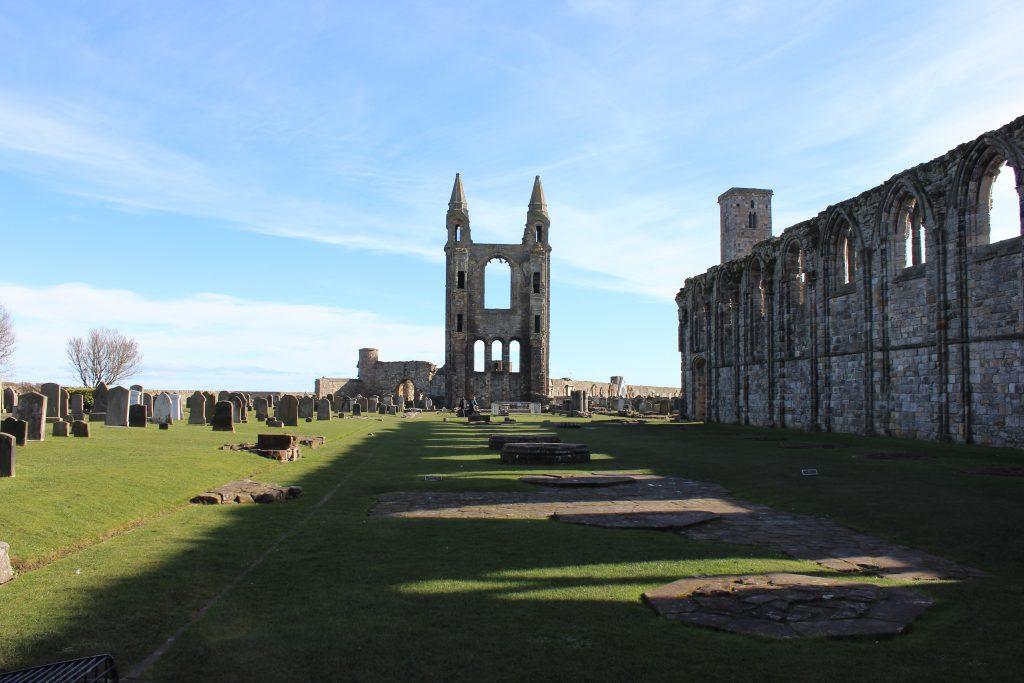 Resti della Cattedrale di St Andrews, Fife, Scozia.