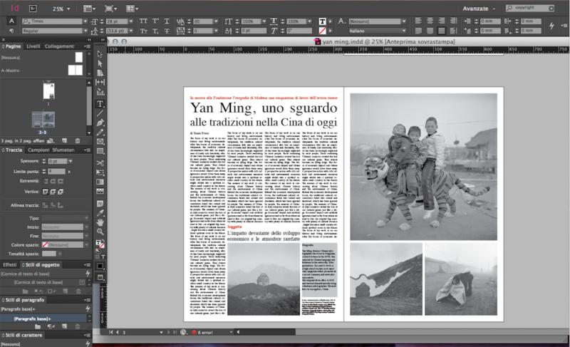 Schermata durante i lavori di elaborazione del nostro articolo di giornale.